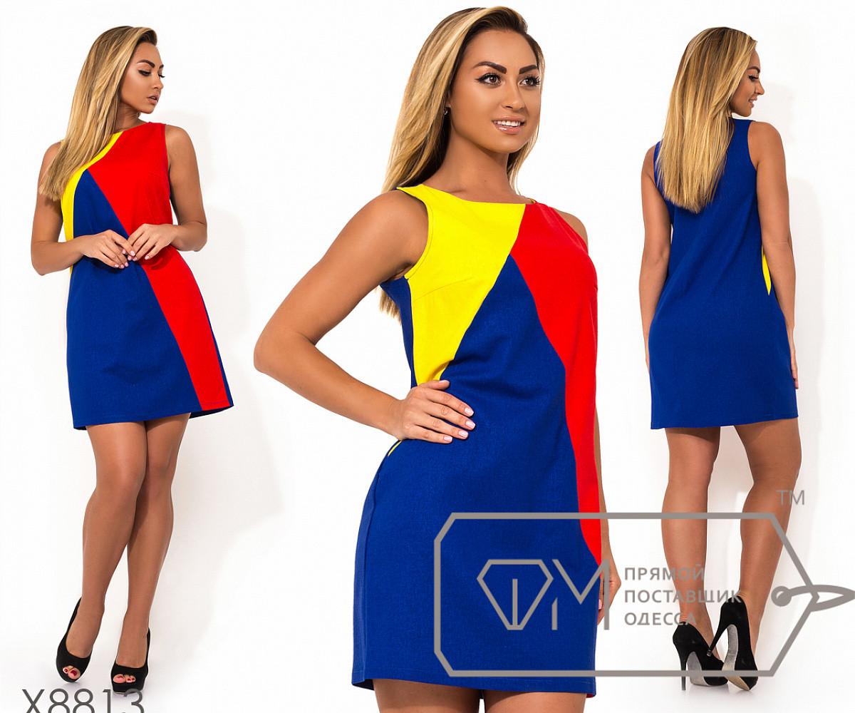 Платье мини из льна трехцветное без рукавов с застежкой молнией вдоль спины, 3 цвета