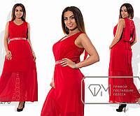 Платье макси А-покроя из гипюра и шифона без рукавов на подкладе из масла, с вышитым поясом и свободным декольте-иллюзией X6270