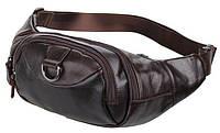 Поясная сумка Vintage 14236 кожаная Коричневая, Коричневый, фото 1