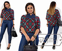 Костюм из джинса и французского трикотажа - туника-фрак свободная с щелевым вырезом и облегающие брюки, 1 цвет