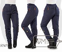 Штаны в спортивном стиле из плащёвки на флисе покроя 6 карманов на эластичном поясе с застёжкой и заужен, 2 цв