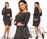 Платье-мини под поясок с круглым вырезом гипюровой вставкой на рукавах и асиметричной подоле, 2 цвета