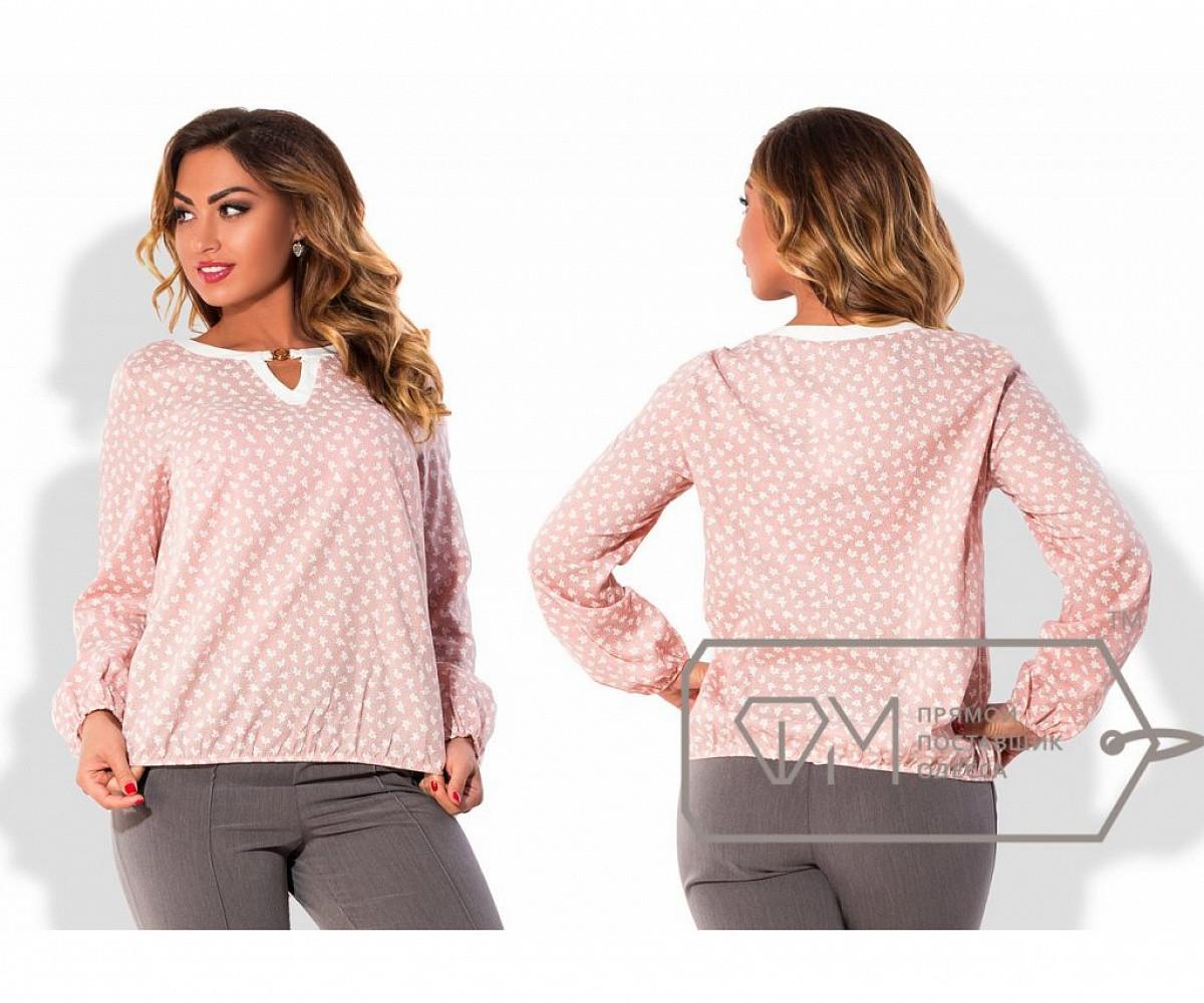 Блуза свободная из коттона с окантованным вырезом-капелькой, подолом и рукавами на резинках, 1 цвет