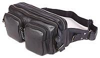 Поясная сумка Vintage 14389 кожаная Черная, Черный, фото 1