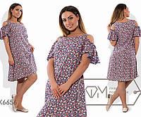 Платье-трапеция миди из штапеля с круглым вырезом и приспущенными оборками коротких рукавов, 2 цвета