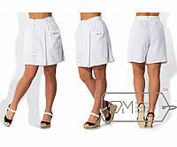 Юбка-шорты прямые из льна на запах, с резинкой на талии, карманами и под мягкий пояс со шлёвками X4242