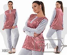 Домашний костюм из велюра - туника с принтованной основой, разрезами по бокам и вырезом на застёжке, 2 цвета