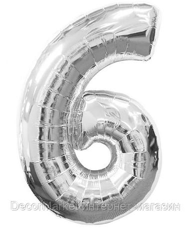 """Цифра фольгированная """"6"""", СЕРЕБРО  ~ 90-100 см (40 дюймов), фото 2"""
