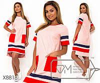 Платье миди прямого кроя из льна с контрастными карманами окантовкой на горловине, коротких рукавах, 1 цвет