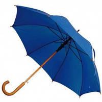 Синий зонт-трость полуавтомат, 9 цветов, с нанесением логотипов, для подарка и в рекламных целях