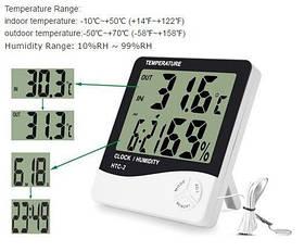 Цифровий термометр, гігрометр Htc-2 з виносним датчиком температури