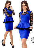 Платье баска с ажурными рукавами в расцветках 26256, фото 1