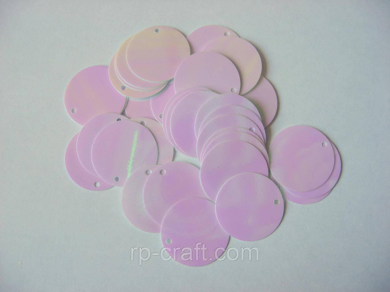 Упаковка пайеток. Плоские, круглые, 19 мм, 5 грамм, белые