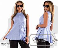 Блуза из коттона без рукавов с застежкой по всей длине пышным подолом сзади и со шнуровкой в люверсах, 2 цвета