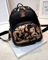 Черный городской рюкзак с шипами Цветы, фото 1