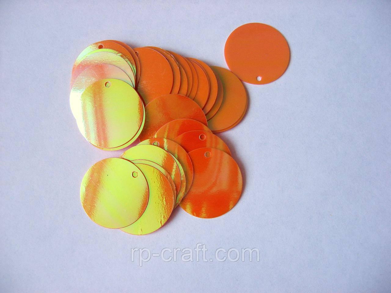 Упаковка паєток. Плоскі, круглі, 19 мм, 5 грам, помаранчеві