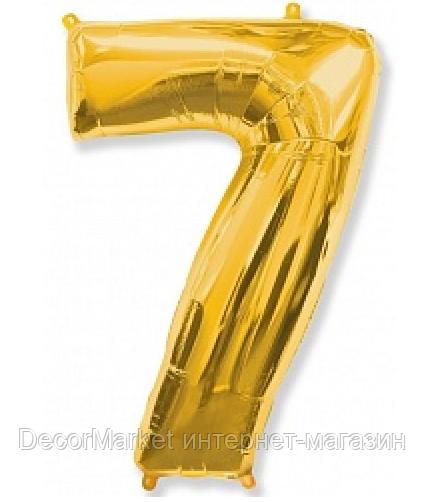 """Цифра фольгированная """"7"""", ЗОЛОТО - 102 см (40 дюймов) FLEXMETAL"""