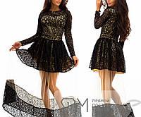 Платье в пол полуприталенное из гипюра на атласе с пышной полупрозрачной юбкой из фатина 3280