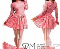 Платье в пол полуприталенное из гипюра на атласе с пышной полупрозрачной юбкой из фатина 3278