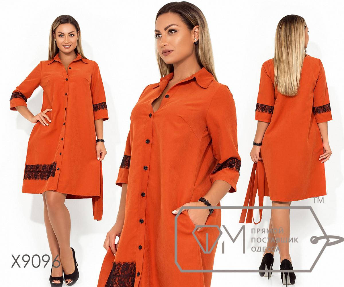 Платье-мини прямого кроя из ткани парка с застежкой по всей длине, под поясок, с рукавами 3/4, 1 цвет