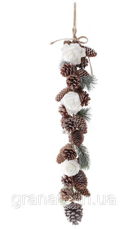 Новогоднее украшение  Ветка-гирлянда из веток, шишек и белых роз, 60 см (6шт)