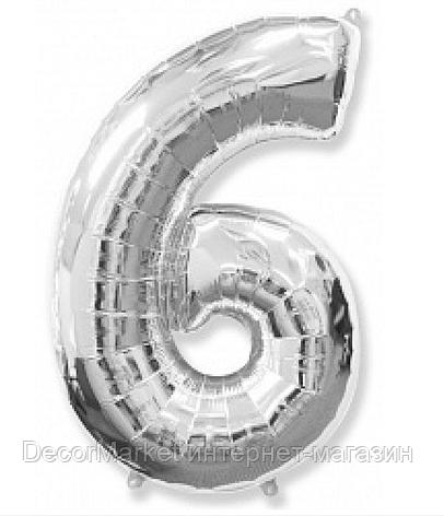 """Цифра фольгированная """"6"""", СЕРЕБРО - 102 см (40 дюймов) FLEXMETAL, фото 2"""