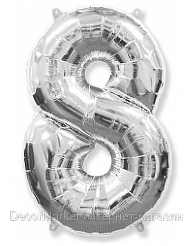 """Цифра фольгированная """"8"""", СЕРЕБРО - 102 см (40 дюймов) FLEXMETAL"""