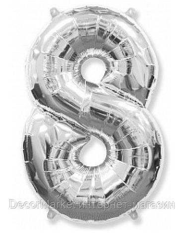 """Цифра фольгированная """"8"""", СЕРЕБРО - 102 см (40 дюймов) FLEXMETAL, фото 2"""