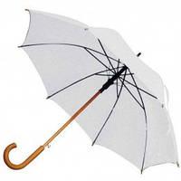 Белый зонт-трость полуавтомат, 9 цветов, с нанесением логотипов, для подарка и в рекламных целях