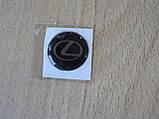 Наклейка s круглая Lexus 20х20х1.2мм силиконовая эмблема логотип марка бренд в круге на авто Лексус, фото 4