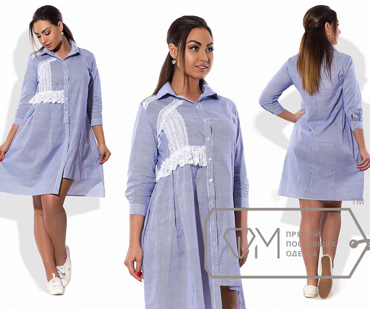 Платье-рубашка мини прямое из коттона с асимметричным подолом и складками от кружевной отделки, 2 цвета