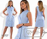 Платье-футляр прямого кроя из льна без рукавов с эффектом запаха декоративными карманами и золотыми, 3 цвета