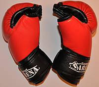 Рукавички для боїв без правил шкіряні ЛЕВ Ml розмір L червоні