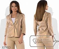 Классический прямой пиджак из льна без подклада однобортный на одной пуговице с рукавами 3/4, 1 цвет