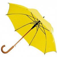 Желтый зонт-трость полуавтомат, 9 цветов, с нанесением логотипов, для подарка и в рекламных целях