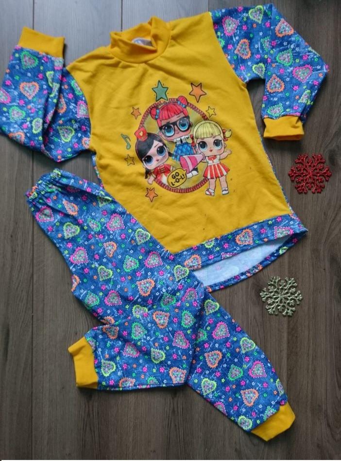 Детская пижама для девочки с начесом Лол  98-140 р, детские пижамы для девочек оптом от производителя