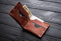 Мужской кожаный кошелек HANDCRAFT IN UA коньячный, фото 1