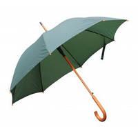 Зеленый зонт-трость полуавтомат, 9 цветов, с нанесением логотипов, для подарка и в рекламных целях