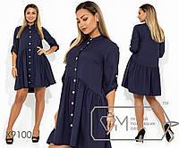 Платье-мини из ткани креп-костюмка со шлейфом воротником под горло драпировкой на юбке рукавами 7/8, 1 цвет
