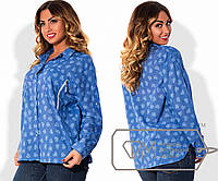 eca9e802f61 Рубашка свободная из батиста с рукавами на патиках и нагрудными карманами  на молниях X5099