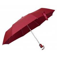 Бордовий автоматичний зонт складаний, 9 кольорів, з нанесенням логотипів, для подарунків, фото 1