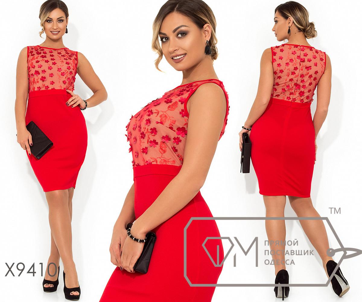Платье-мини приталенного кроя верх - с 3D лепестками на сетке с подкладом, без рукавов с втачным поясом, 1 цве