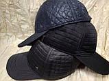 Бейсболка утеплённая из стёганной плащёвки серая,чёрная,синяя 56-58-60, фото 3
