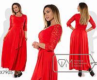 Платье макси А-покроя из трикотажа масло с драпированным наискось лифом из гипюра под мягкий пояс, 2 цвета