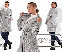 Кардиган-пальто прямой удлинённый из трикотажа меланж на флисе под пояс с накладными карманами, 3 цвета