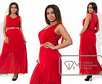 577833eb455 Платье макси А-покроя из гипюра и шифона без рукавов на подкладе из масла