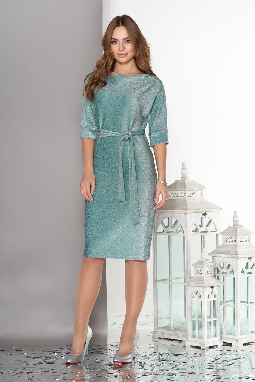 Платье футляр из трикотажа с люрексом мятное