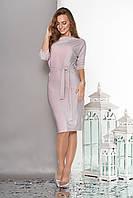 Женское платье из трикотажа с люрексом розовое