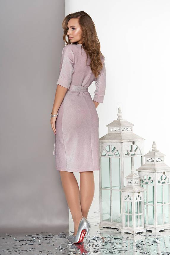 Женское платье из трикотажа с люрексом розовое, фото 2