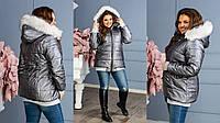 Женская тёплая куртка из плотной эко кожи капюшоном со съемныммехом на молнии синтепон 25048-50, 52-54
